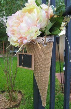 Burlap Pew Cone, Rustic Wedding Decor, Wedding Decoration, Burlap, Bridal Shower Decor, Hanging Vase, Favor Cone, Treat Bag. $20.00, via Etsy.