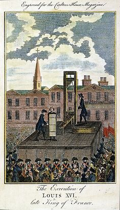 Execution of King Louis XVI of France on January 21, 1793: contemporary English colored engraving.