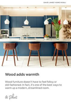 Wood furniture doesnt have to feel folksy or old-fashioned. In fact its one of the best ways to warm up a modern streamlined room. Furniture Stores Nyc, Wholesale Furniture, Patio Furniture Sets, Colorful Furniture, Cheap Furniture, Kitchen Furniture, Wood Furniture, Home Decor Kitchen, Kitchen Interior