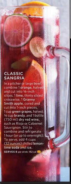 I selected this pin because I love Sangria. This Sangria compliments any meal that I make from the chicken taco burrito to the pasta, it goes with everything. Snacks Für Party, Party Drinks, Cocktail Drinks, Fun Drinks, Yummy Drinks, Alcoholic Drinks, Beverages, Party Recipes, Summer Cocktails