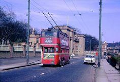 Trolley bus crosses Kingston Bridge London Bus, Old London, West London, Kingston Upon Thames, London History, London Pictures, Bus Coach, Police Box, London Transport