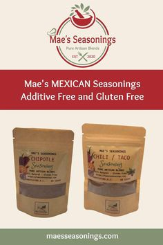The Chipotle and Chili & Taco Seasonings are perfect for your mexican inspired meals. So many uses for these which include chicken, salmon, prawns, steak, chili, tacos, burritos and enchiladas to name a few ideas. All of our seasonings are additive free, gluten free, and full of robust flavours due to the low salt content. Mae's Seasonings is jammed packed with amazing flavour. Eliminate the guesswork and choose Mae's Seasonings spice combinations that are made with no artificial preservatives. Mexican Seasoning, Taco Seasoning, Salmon Recipes, Chicken Recipes, Mexican Food Recipes, Dinner Recipes, Spice Combinations, Natural Spice, Spice Blends