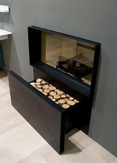 Skemabox, chimenea con cajón para madera...