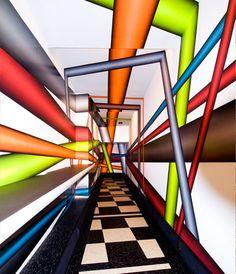 Peter Kogler Art Installations, Installation Art, Cool Optical Illusions, Experiential, Op Art, Murals, Perspective, Modern Art, Hermes