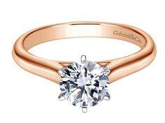 Rose gold solitaire diamond engagement ring.  Gabriel ER6623T4JJJ #seneedhamjewelers #loganutah
