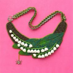 Lily of the valley with spider necklace #present #gift #mother #valentine #lily #valley #lily-of-the-valley #lilyofthevalley #necklace #handmade #bead #OOAK #flowers #green #leaves #foliage #jewelry #jewellery #spider #forher #for-her