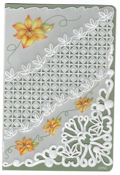 By Carolyn C.  Parchment card coloured with polychromo pencils. Corner flower and border.