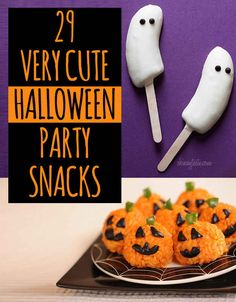 "29 Party Snacks That Are Perfect For Halloween ... mostly cute, except the olive ""spiders""... those just look like big, fat ticks... gross."