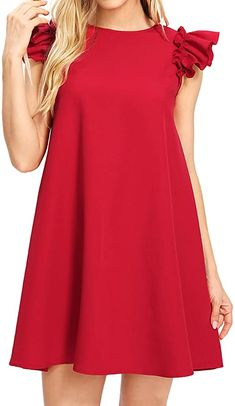 Casual Summer Dresses, Simple Dresses, Casual Dresses For Women, Pretty Dresses, Girls Dresses, Dress Casual, Dress Summer, Ruffle Dress, Chiffon Dress