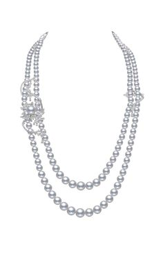 Mikimoto Regalia Collection Coral necklace featuring South Sea baroque pearls and diamonds in white gold