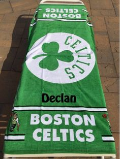 BASKETBALL NBA Boston Celtics Beach Towel Personalized by CACBaskets on Etsy Oversized Beach Towels, Boston Celtics, Nba Basketball, Paper Shopping Bag, Handmade Gifts, Sports, Etsy, Kid Craft Gifts, Hs Sports