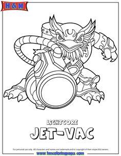 skylanders giants air lightcore jet vac coloring page