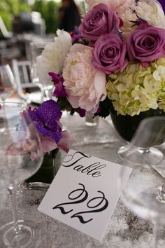 Photography: Bruce Plotkin | Table Number | Floral Centerpiece | Classy | True Event | http://www.trueevent.com http://www.stylemepretty.com/2015/05/01/modern-summer-wedding-at-the-wilton-riding-club/