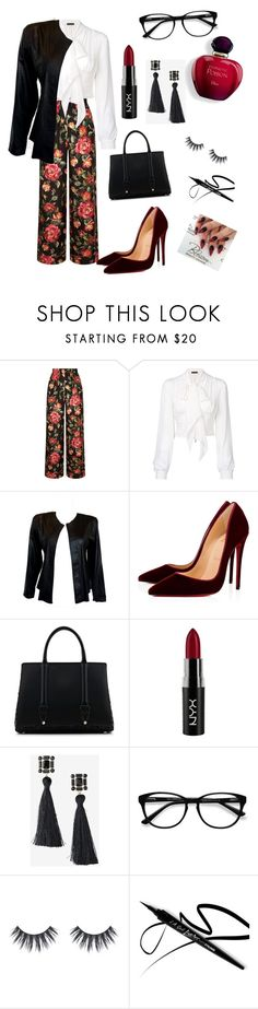 """flowers in red"" by alfinjoza ❤ liked on Polyvore featuring Dolce&Gabbana, Plein Sud, Christian Louboutin, La Perla, NYX, Express and EyeBuyDirect.com"