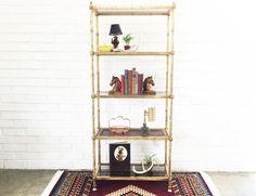 Vintage Brass Etagere / Shelving Unit / Wood Cane Shelf