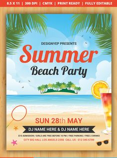 Free Summer Beach Party Flyer PSD Template