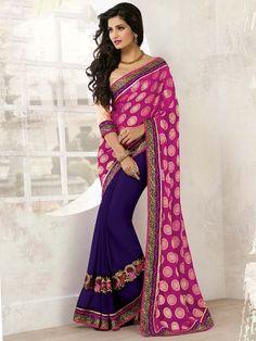Enchanting purple and rani pink color viscose and chiffon saree. Item Code: SBH514 www.bharatplaza.com/women/sarees.html