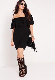 Plus Size Bardot Frill Dress Black