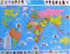 Wereldkaart puzzel voor kinderen