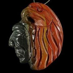 BH10615# Natural Hand Carved American Indian Succor Creek Jasper Pendant Bead #Handmade #Pendant