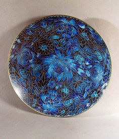 Blue Floral Cloisonne Plate, Probably Chinese.