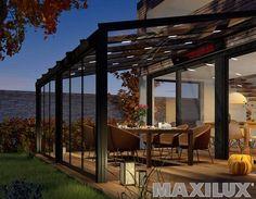 Komfortní hliníkové zastřešení terasy včetně integrovaného osvětlení, topení a předního skleněného posuvu