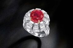 A rare and important 9.08-carat Pigeon's Blood Burmese Ruby and Diamond Ring,             Cartier, 1956