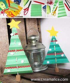 ★ ✄ DIY Mini-Sapin Noël Accordéon Papier / DIY Paper Folding Christmas Tree ✄ ★ www.creamalice.com