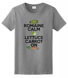 Romaine Calm Lettuce Carrot On Vegetarian Vegan Humor Ladies T-Shirt XL Sport Grey