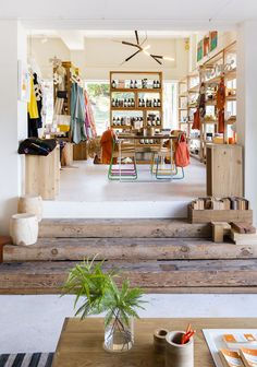 chunky recycled timber stairs at Mark Tuckey