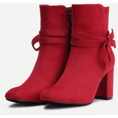 SheIn(sheinside) Red Suede Tie Detail Boots (2.965 RUB) ❤ liked on Polyvore featuring shoes, boots, ankle booties, pointed toe booties, suede booties, suede ankle booties, high heel booties and short booties