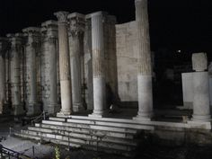 The Entrance to the Library of Emperor Hadrian at Night