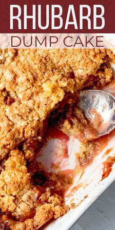 Rhubarb dump cake is one of the easiest springtime desserts you can make, using cake mix and a handful of other SIMPLE ingredients in a few EASY steps! Dump Cake Recipes, Dessert Recipes, Frosting Recipes, Fondant Recipes, Bread Recipes, Rhubarb Dump Cakes, Rhubarb Bread, Rhubarb Jelly, Rhubarb Pudding