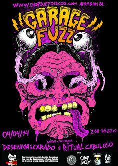 garage fuzz show concert rock band poster cartaz art design