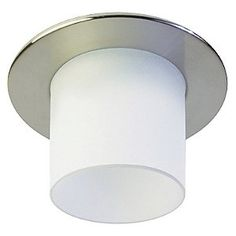 """Recessed lighting gets decorative with the Contrast Lighting R2450VT Downlight with Decorative Glass Trim. It features a round trim and a light-diffusing glass tube. The tube comes in a variety of colors and lengths, and with either a clear texture, a frosted interior or a frosted interior and exterior. For use with a 4"""" housing. White/white, frosted 3, 4, 5, 6 or 7 inch 114.48$; Chromer/white, frosted 3, 4, 5, 6 or 7 inch 127.84$"""