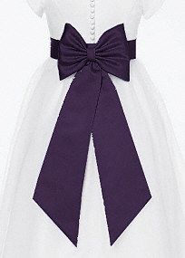 Satin flower girl sash fits Sizes 2T-8, available in colors below.   Satin flower girl sash with back bow.  Available in store in sizes 10-14 as style LG1041.  Available in stores in our 44 color palette.