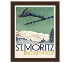 Framed St Moritz Vintage Art Poster at Pottery Barn Mirror Wall Art, Framed Wall Art, Wall Art Decor, Vintage Walls, Vintage Art, Vintage Style, Christmas Lodge, Christmas Decor, Vintage Ski Posters