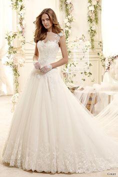 colet bridal 2015 style 18 coab15257iv sheer illusion neckline a line wedding dress cap sleeves