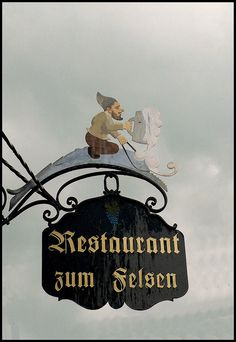 restaurant sign in Stein am Rhein, Switzerland