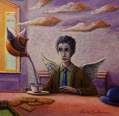 Artique | THE ANGEL'S BREAKFAST -  (2016) - acrylic on board, framed ready to hang(13,8 x 13,8 i) | Carlo Salomoni
