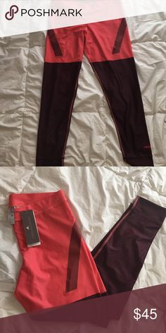 Stella McCartney Stella McCartney x adidas work out bottoms size L new tags Burgundy and salmon pink Stella McCartney Other