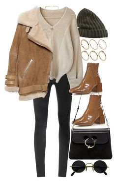A fashion look from October 2017 featuring wool sweater, shearling jacket and Helmut Lang. Browse and shop related looks. Winter Fashion Outfits, Winter Outfits, Autumn Fashion, Classy Outfits, Trendy Outfits, Cute Outfits, Outing Outfit, Elegantes Outfit, Polyvore Outfits
