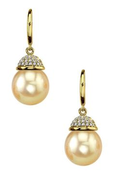 18K yellow gold 9mm south sea pearl and diamond cap earrings