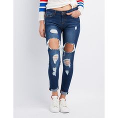 Charlotte Russe Destroyed Skinny Boyfriend Jeans ($20) ❤ liked on Polyvore featuring jeans, dark wash deni, ripped denim jeans, skinny jeans, boyfriend jeans, slouchy boyfriend jeans and destructed boyfriend jeans