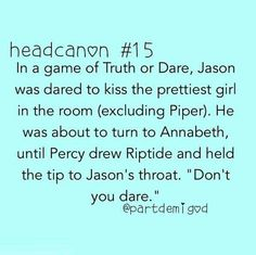Percy is protective over Annabeth