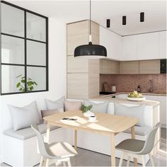 The corner bench (with the hidden storage space) is one of my fave parts in this kitchen I designed for a young couple in Switzerland. Condo Interior, Interior Design Kitchen, Home Building Design, House Design, Espace Design, Apartment Kitchen, Dining Room Design, Kitchen Living, Living Room