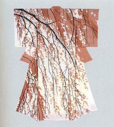 Japan, yuzen kimono by Hiroshi Tajima  Something like this would be beautiful in living room.