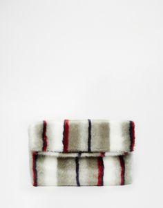 ASOS Co-ord Faux Fur Multi Stripe Clutch Bag