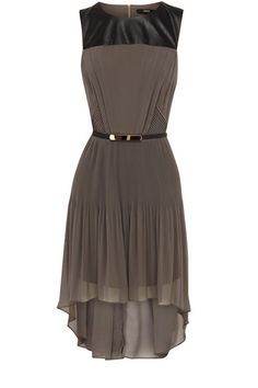 Faux Leather Top Pleated Dress