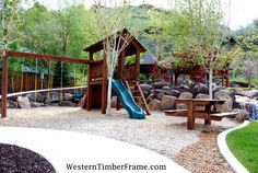 Timber framed playground and accessories built with dovetailed old world craftsmanship that will last for centuries from WesternTimberFrame.com.